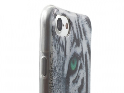 Ултра тънък силиконов протектор за  iPhone 7 / 8 - Текстура - Tiger with Green Eye