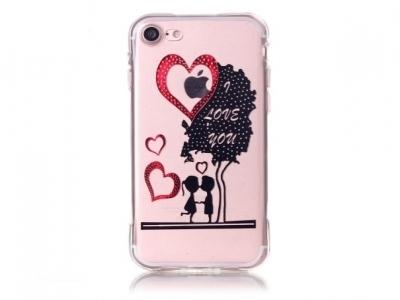 Ултра тънък  силиконов протектор за iPhone 7 / 8 - Сърца и Любов