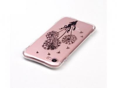 Ултра тънък силиконов протектор за iPhone 7 / 8 - Прозрачен с флорален мотив Глухарче