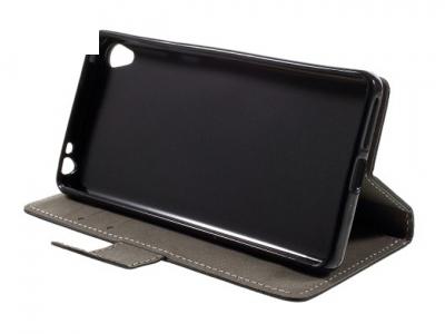 Калъф-тефтер, трансформиращ се в стойка за  Sony Xperia E5 - Черен