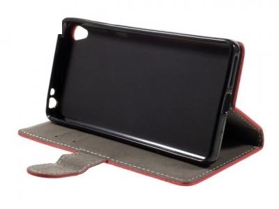 Калъф-тефтер, трансформиращ се в стойка за Sony Xperia E5 - Червен