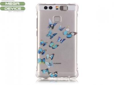 Ултра тънък твърд силиконов протектор за  Huawei P9 - Сини Пеперуди