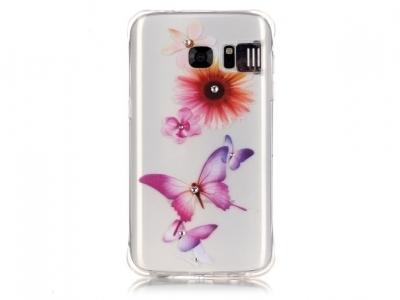 Ултра тънък силиконов протектор за Samsung S7 G930 - Прозрачен - Текстура - Флорални мотиви