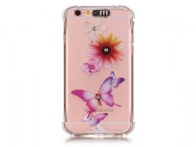 Ultra thin silicone protector FOR iPhone 6s Plus / 6 Plus Transparent - Texture - Flowers and butterflies