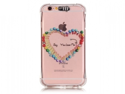 Ultra thin silicone protector FOR iPhone 6s Plus / 6 Plus Transparent - Texture - Heart