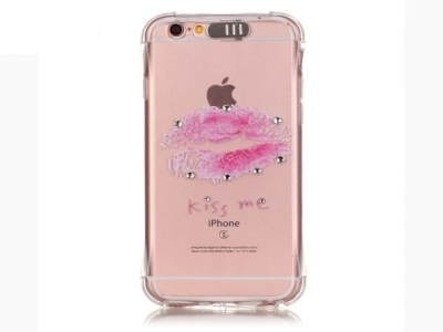 Incoming Call Flash TPU Back Cover for iPhone 6s Plus/ 6 Plus Rhinestone Decoration - Red Lip
