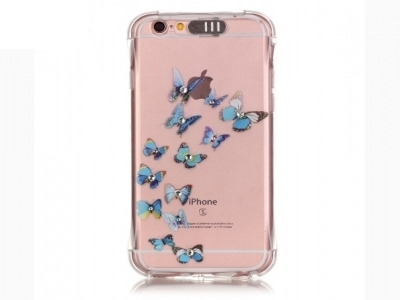 Incoming Call Flash TPU Back Case for iPhone 6s Plus/ 6 Plus Rhinestone Decoration - Blue Butterfly