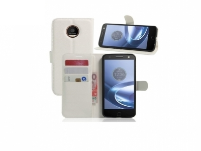 Калъф тефтер за Motorola Moto Z - White
