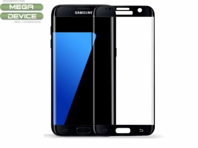 Извит стъклен протектор с лайсна  Curved за Samsung Galaxy S7 edge Full Covering - Black