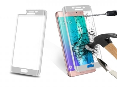 Извит стъклен протектор Curved за Samsung Galaxy S7 edge G935 - Silver