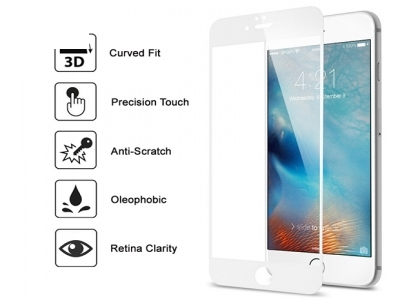 Стъклен протектор 3D Full - IPhone 6 / 6S Бял