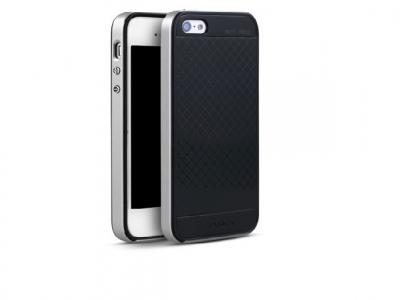 IPAKY 2-в-1 PC гръб +TPU силикон за iPhone SE/5s/5 - Сребърен