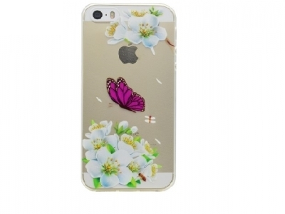 Embossing TPU Case Shell for iPhone SE/5s/5 - White Flowers and Butterfly