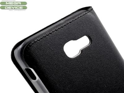 Кожен калъф с прозорец за Samsung Galaxy A5 2017, Черен