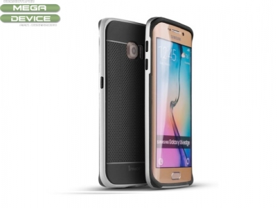 Силиконов калъф IPAKY Hybrid PC Bumper + TPU Back  Samsung Galaxy S6 Edge 2015 G925, Сребрист