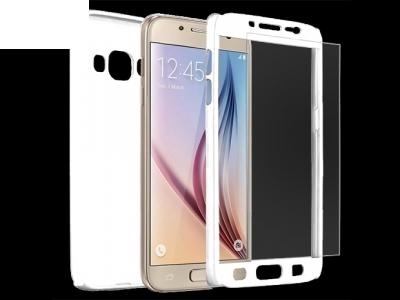 Калъф преден и заден PVC + Стъклен протектор за Samsung J510 Galaxy J5 2016 Бял
