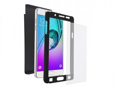 Калъф преден и заден PVC + Стъклен протектор за Samsung J510 Galaxy J5 2016 Черен