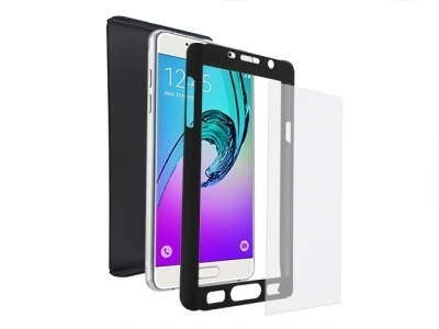 Калъф преден и заден PVC + Стъклен протектор за Samsung A510 Galaxy A5 2016 Черен