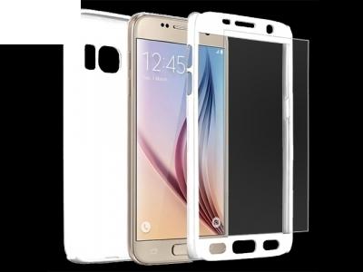 Калъф преден и заден PVC + Стъклен протектор за Samsung A510 Galaxy A5 2016 Бял