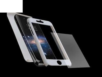 Калъф преден и заден PVC + Стъклен протектор за Iphone 7 / 8 Бял
