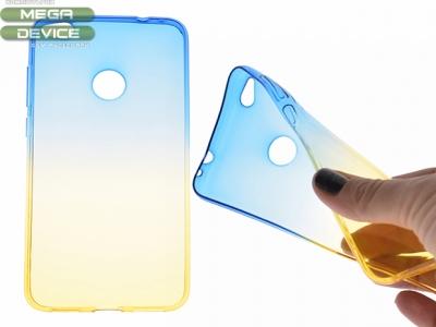 Силиконов гръб OMBRE за Huawei P8 Lite 2017 / P9 Lite 2017/ Honor 8 Lite, Син/ Златист