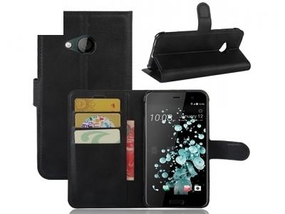 Калъф тефтер Lichee Pattern Wallet Style HTC U Play / Alpine - Black