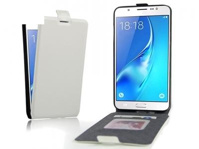 Вертикален калъф тефтер Leather за Samsung Galaxy J7 2016 J710, Бял