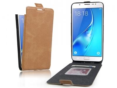 Вертикален калъф тефтер Leather за Samsung Galaxy J7 2016 J710, Кафяв