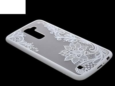 Пластмасов гръб със силиконова лайсна за LG K10 2016 (K430), Бял