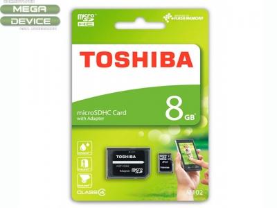 Карта памет + адаптер 8GB Micro SD Toshiba Class 4