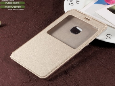 Калъф тефтер с прозорец за Huawei P10 Lite - Gold
