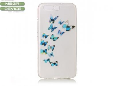 Калъф гръб силикон Huawei P10 - Blue Flying Butterflies