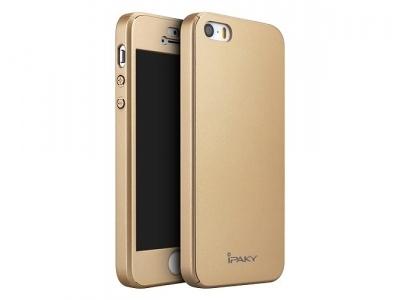 IPAKY 360 pvc + стъклен протектор iPhone SE/5s/5 - Gold