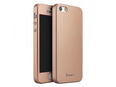 IPAKY 360 pvc  + стъклен протектор iPhone SE/5s/5 - Rose Gold