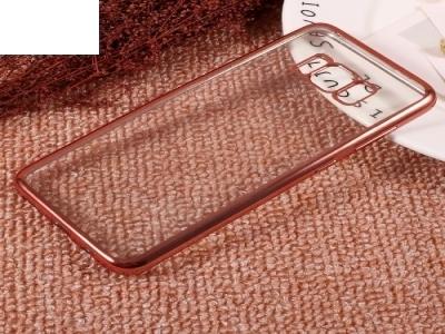 Силиконов калъф с лайсна за Samsung Galaxy S8 2017 (G950) , Розов /Златист