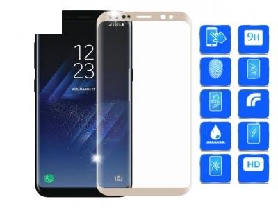 Стъклен протектор 3D Full Curved за Samsung Galaxy S8 Plus 2017, Златист