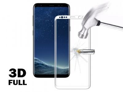 Стъклен протектор 3D Full Curved за Samsung Galaxy S8 2017, Бял