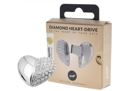 USB 16GB  PENDRIVE Сребърно сърце