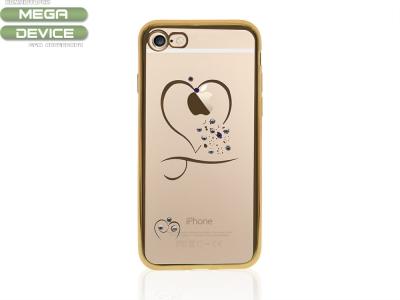 Силиконов Калъф с лайсна  за Iphone 7  (4.7) Златно сърце