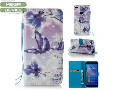 Калъф Тефтер за Huawei P8 Lite 2017, Цветя и Пеперуди