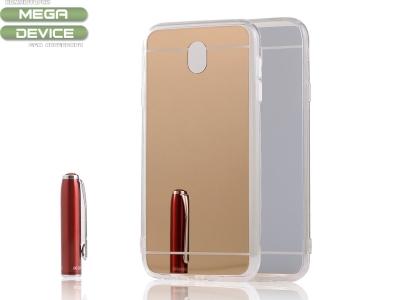Огледален гръб с силиконова лайсна T1 Mirror за Samsung Galaxy  J7 2017 J730F , Розов