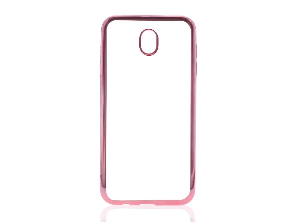 Силиконов калъф  с лайсна CLEAR за Samsung Galaxy J7 2017 J730F Розов/Златист