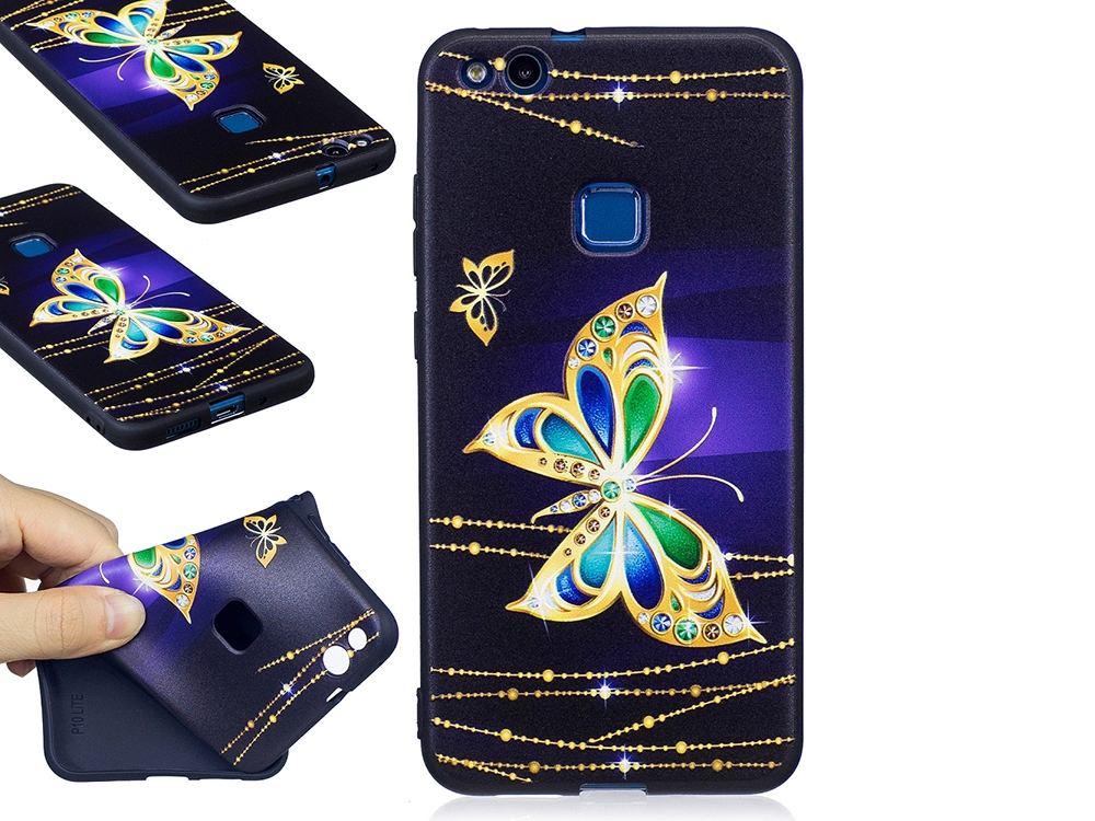Силиконов Гръб за Huawei P10 Lite , Златна пеперуда