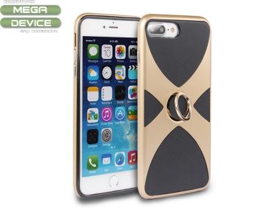 Силиоконов гръб 3 in 1 с пръстен за  iPhone 7 Plus / 8 Plus - Gold