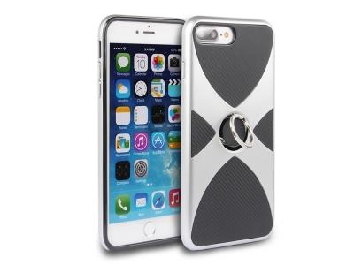 Силиоконов гръб 3 in 1 с пръстен за  iPhone 7 Plus / 8 Plus- Silver