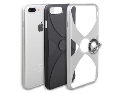 Силиоконов гръб 3 in 1 с пръстен за  iPhone 7 Plus / 8 Plus, Сребрист