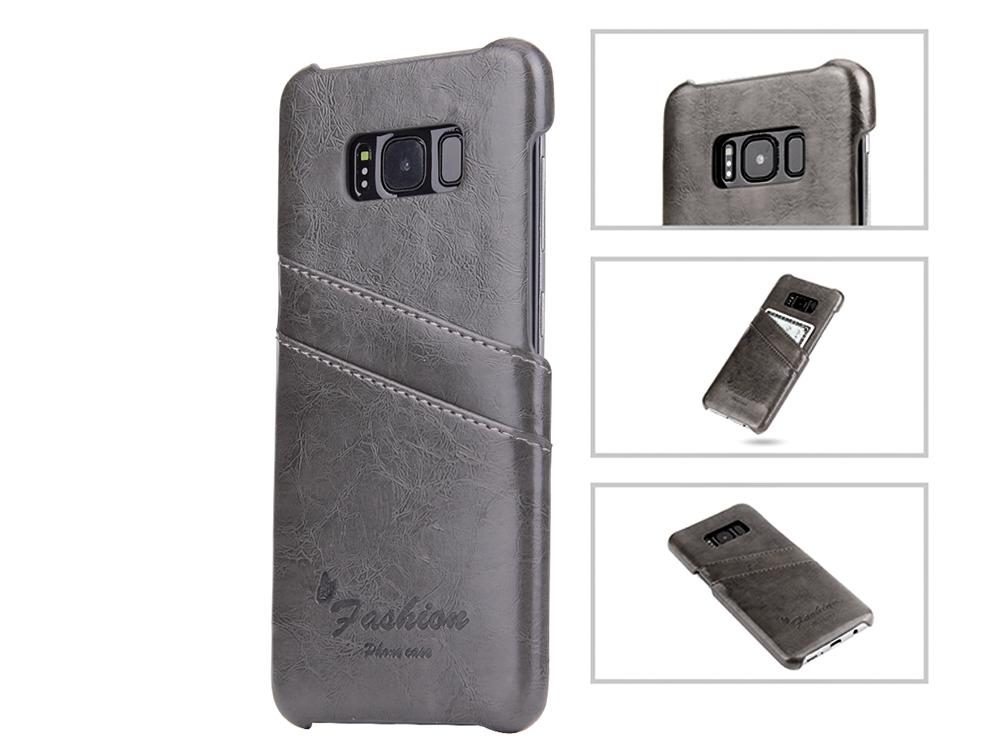 Твърд Гръб с кожено покритие за  Samsung Galaxy S8 Plus - Grey
