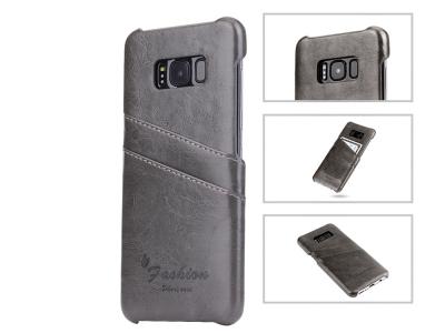 Твърд Гръб с кожено покритие за  Samsung Galaxy S8 Plus 2017, Сив