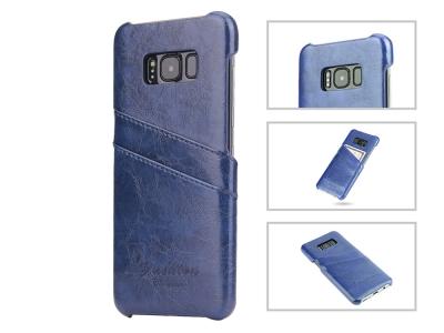 Твърд Гръб с кожено покритие за  Samsung Galaxy S8 Plus - Navy Blue