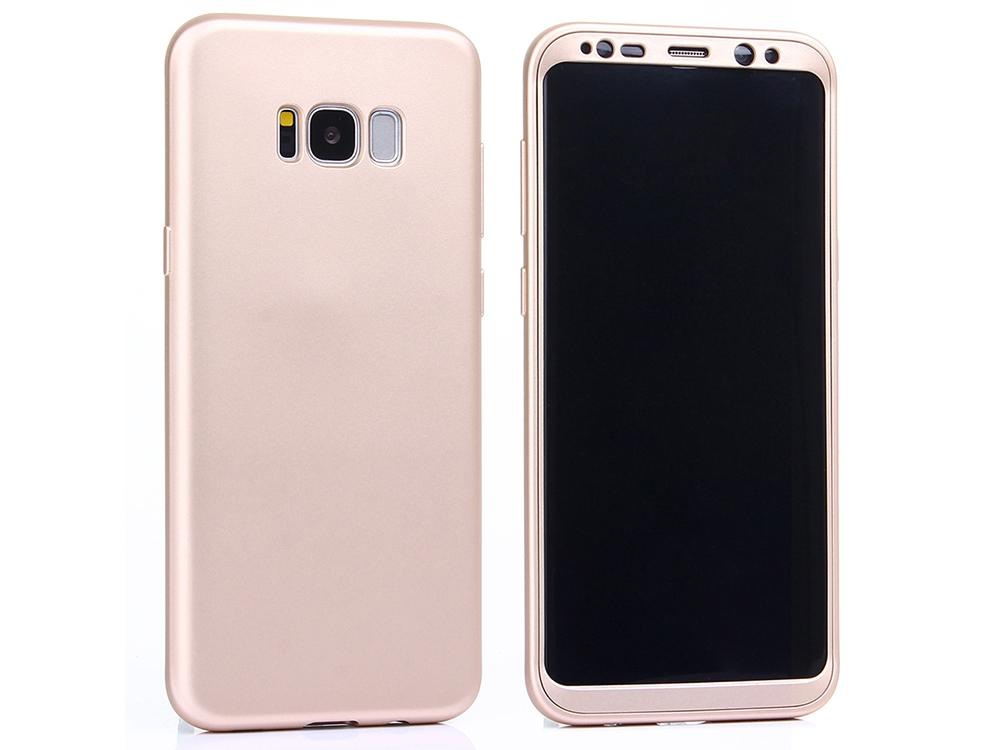 360 градусов силиконов гръб + PVC лайсна за Samsung Galaxy S8 Plus 2017, Златист